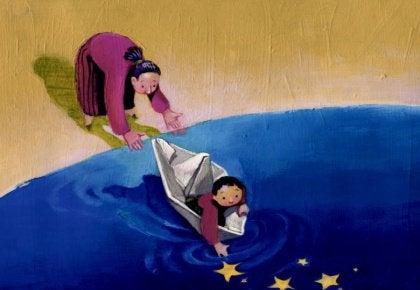 Mutter setzt Kind in ein Boot, damit es Sterne sammeln kann