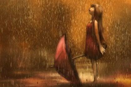 Mädchen im Regen