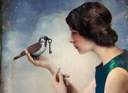 Maedchen mit Vogel