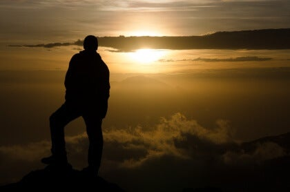 Mann Sonnenuntergang