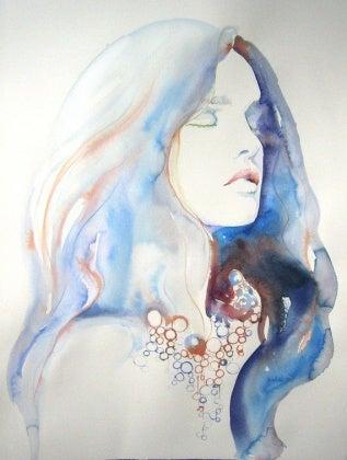 Portrait Frau Wasserfarben