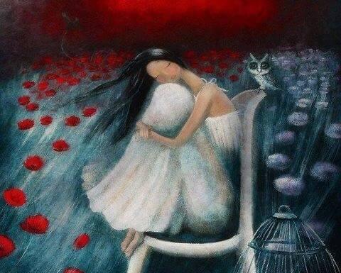 Frau auf Rosen