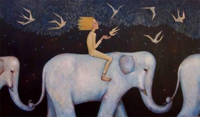 Junge auf Elefant