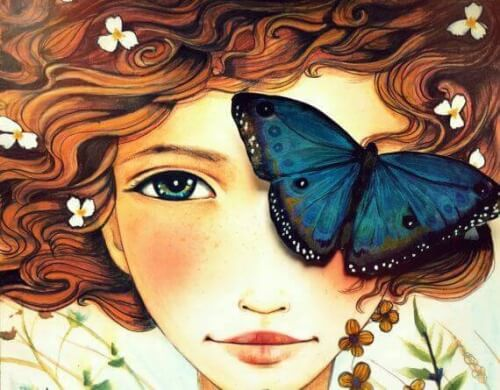 Frau-mit-Schmetterling-auf-dem-Auge