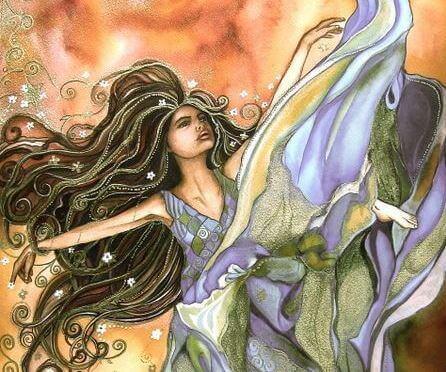 Frau von magischem Zauber umgeben