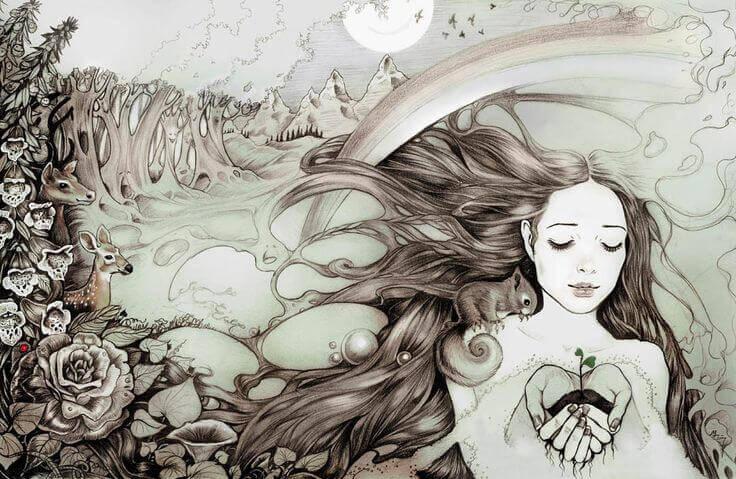 Junge Frau mit Pflanze in der Hand