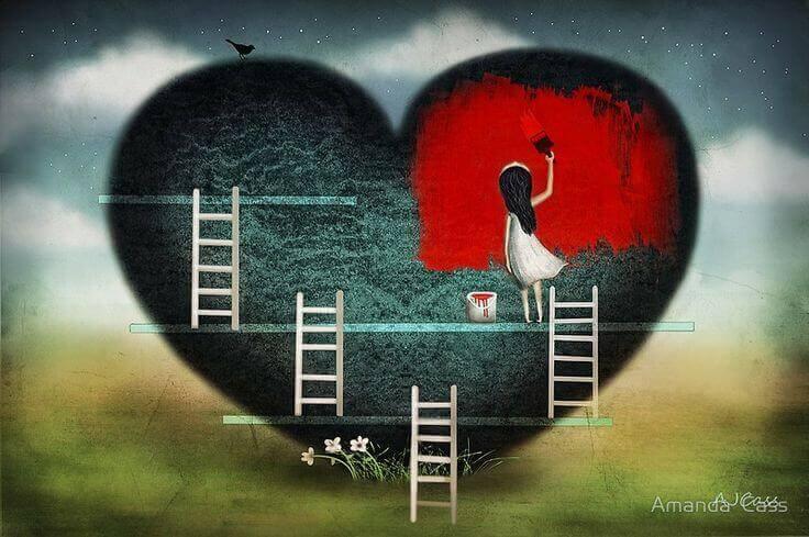 Maedchen malt Herz rot an
