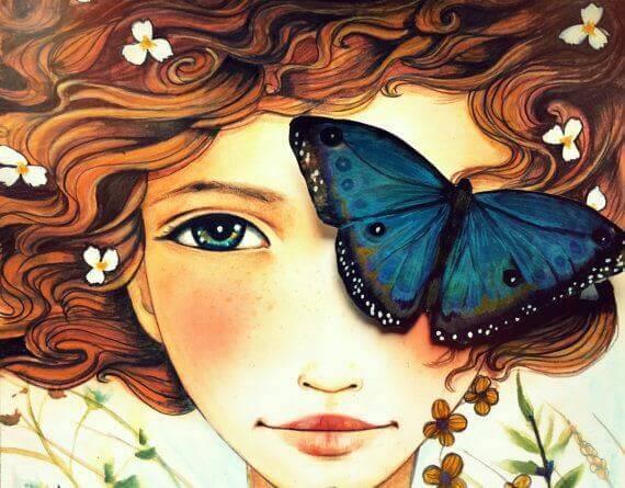 Maedchen mit Schmetterling auf dem Auge