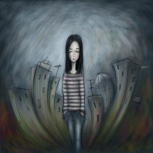 Nachdenkliches-trauriges-Mädchen-Stadt