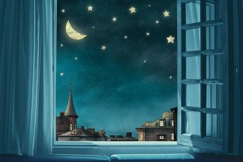 Nachtszene 2 Fenster mit Sternenhimmel