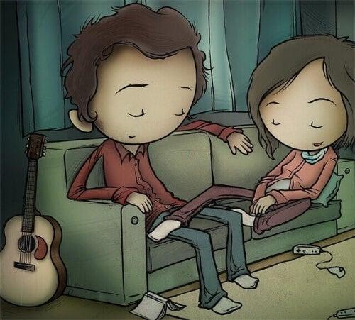 Paar-sitzt-ruhig-auf-dem-Sofa