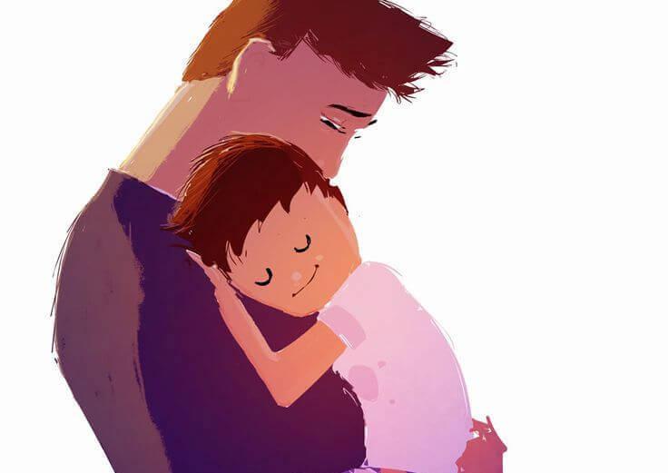 Umarmung Vater und Sohn