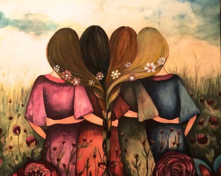 Vier Freundinnen, die sich umarmen