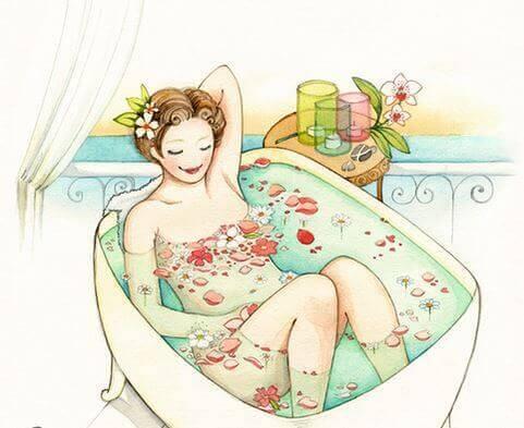 Frau in Badewanne
