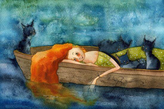 Frau-mit-Katzen-auf-Boot