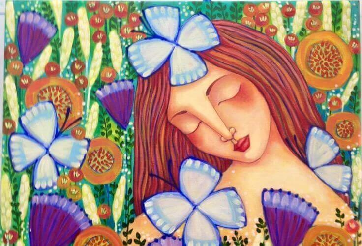 Frau-mit-Schmetterlingen