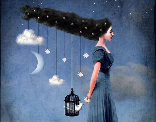 Frau mit Sternen