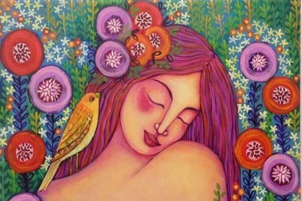 Frau-mit-Vogel-im-Haar