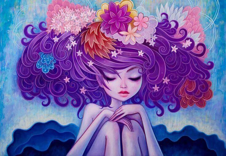 Frau-mit-blumigen-Haar