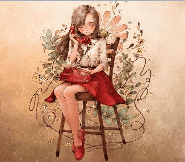 Junge Frau telefoniert auf Stuhl