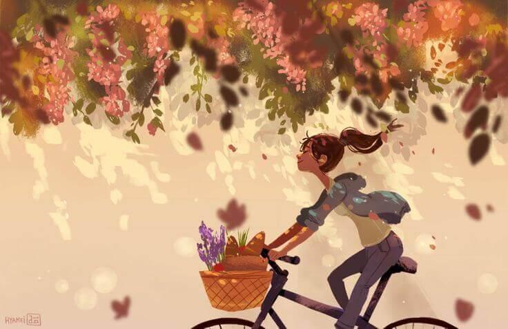 Maedchen auf Fahrrad