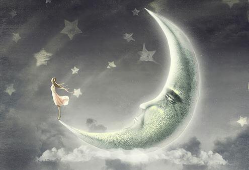 Maedchen im Mond