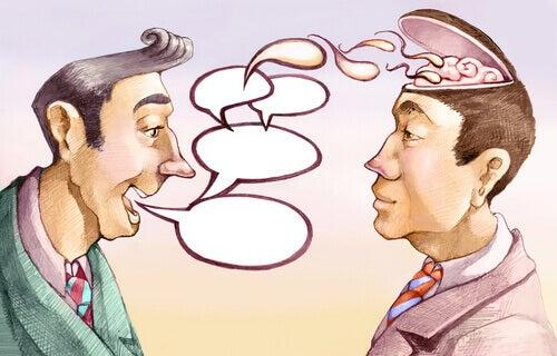 Mann manipuliert anderen Mann mittels Worten