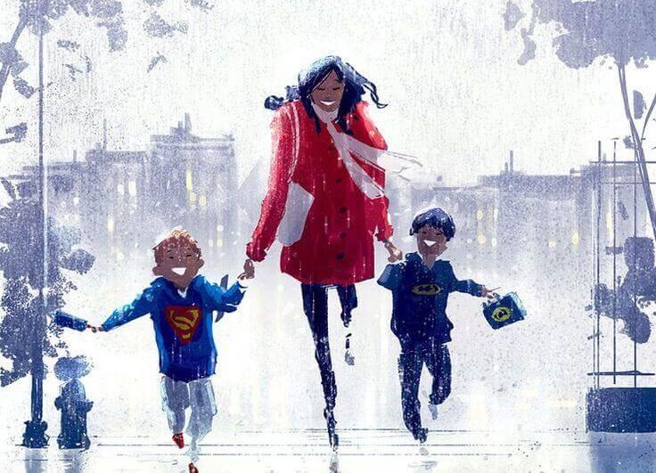 Mutter-mit-Kindern