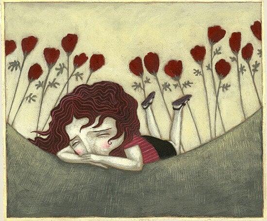 Traurige Frau hoert auf ihre Gefuehle