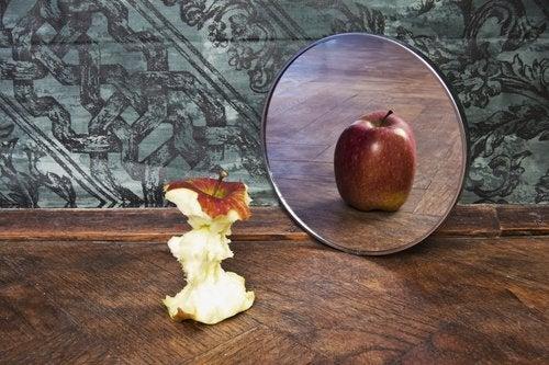 Apfel und Spiegelbild