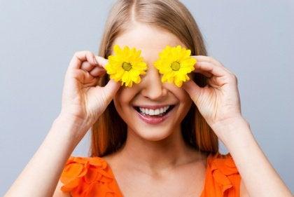 Blumen im Gesicht