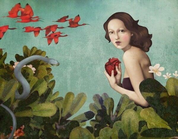 Eva mit Herz und Schlange