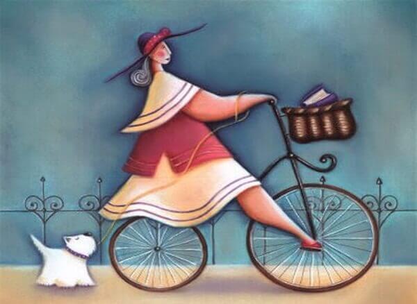 Frau-auf-Fahrrad