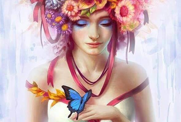 Frau-mit-Schmetterling