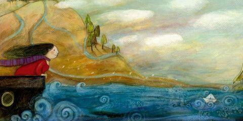 Frau-schaut-auf-Wellen