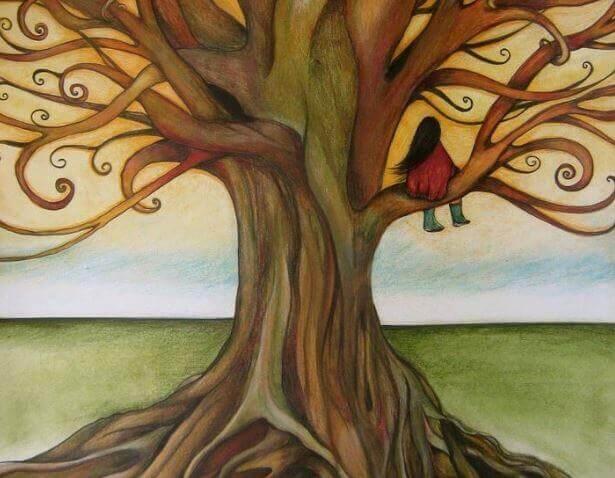 Frau-sitzt-auf-Baum