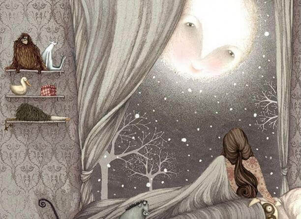 Kind-betrachtet-Mond