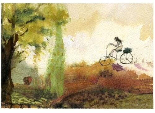 Kind-mit-Fahrrad-auf-Seil