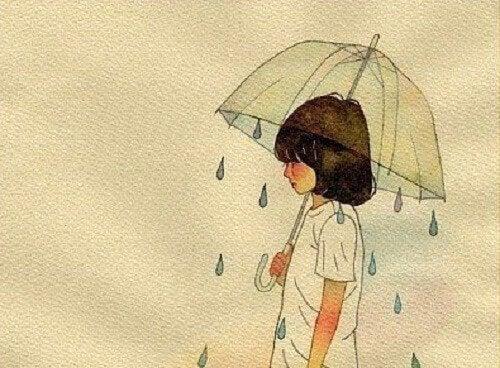 Kind-unter-Regenschirm