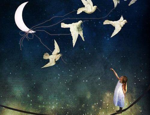 Maedchen mit Voegeln und Mond