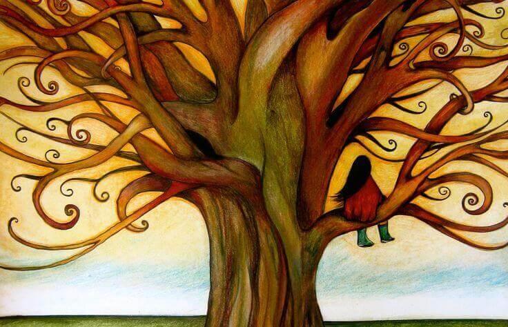 Maedchen auf Baum