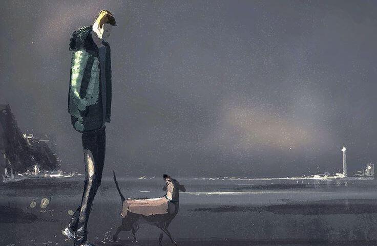 Mann-spaziert-mit-Hund