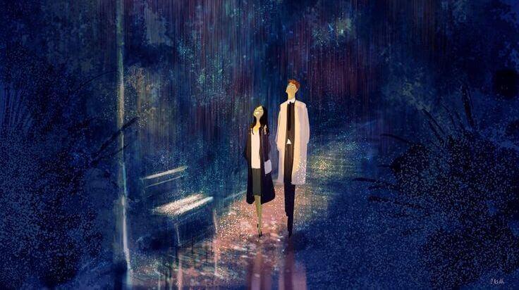 Paar-geht-im-Regen-spazieren