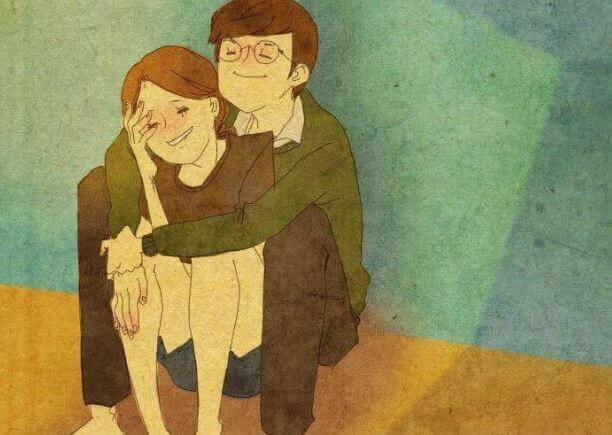 Paar-umarmt-sich