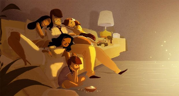 Familie-zusammen-auf-Sofa