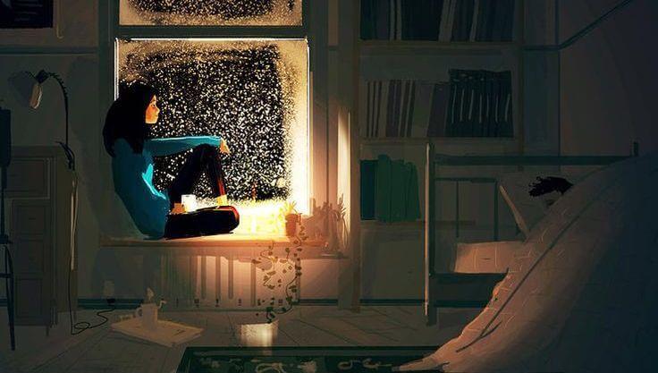 Frau-betrachtet-Sternenhimmel-aus-dem-Fenster