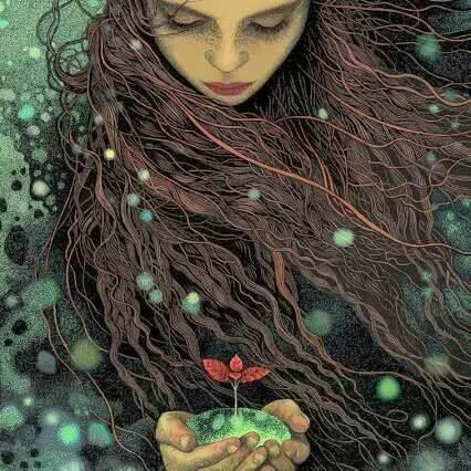 Frau mit Blume in der Hand