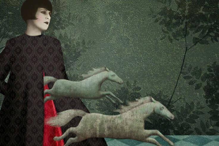 Frau mit Pferden