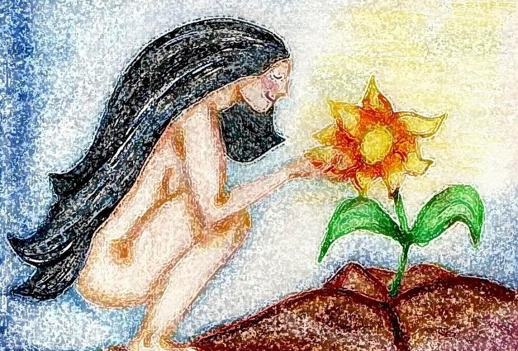 Frau streichelt Blume