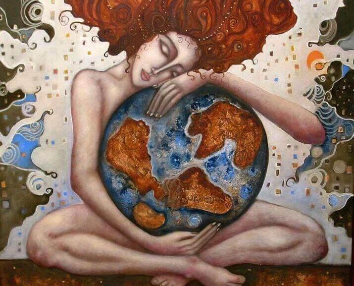 Frau umarmt die Welt